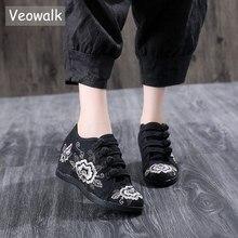 Veowalk隠し増加プラットフォーム女性刺繍キャンバススニーカー、レトロレディースコンフォートつる中国刺繍靴