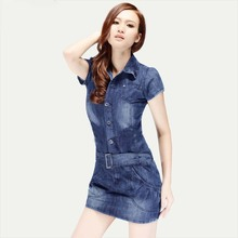 New Summer Short Sleeve Casual Lady Denim Mini Dresses with Sashes Fashion Slim Women Shift Jeans Clothes G1049