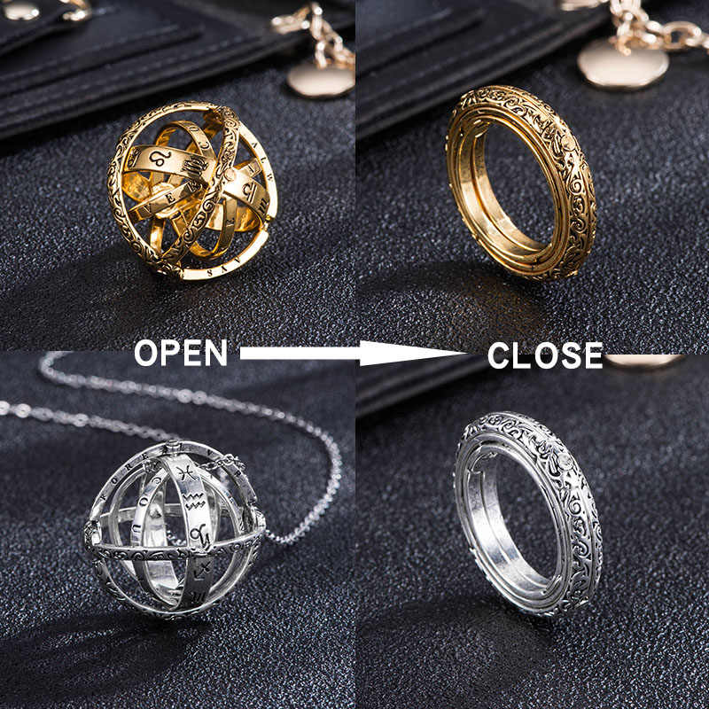 2019 Hot Astronomical Ball Rings Silver Gold Creative Couple Rings Lover Ring Women Jewelry Open Turn into Astronomical Balls