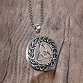 Mprainbow Mens Necklaces Stainless Steel Vintage Irish Celtics Trinity Love Knot Round Triquetra knot Pendant Necklace Jewelry