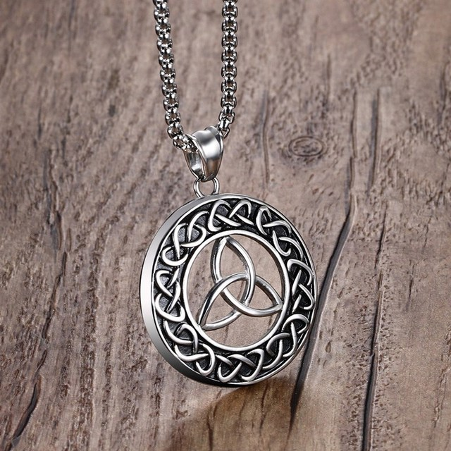 Mens irish celtics trinity love knot round triquetra pendant mens irish celtics trinity love knot round triquetra pendant necklace stainless steel vintage male colares kolye mozeypictures Image collections