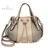 BAFELLI spring and summer new arrival genuine leather handbag vintage pumpkin bag panelled half moon shoulder bag women bag