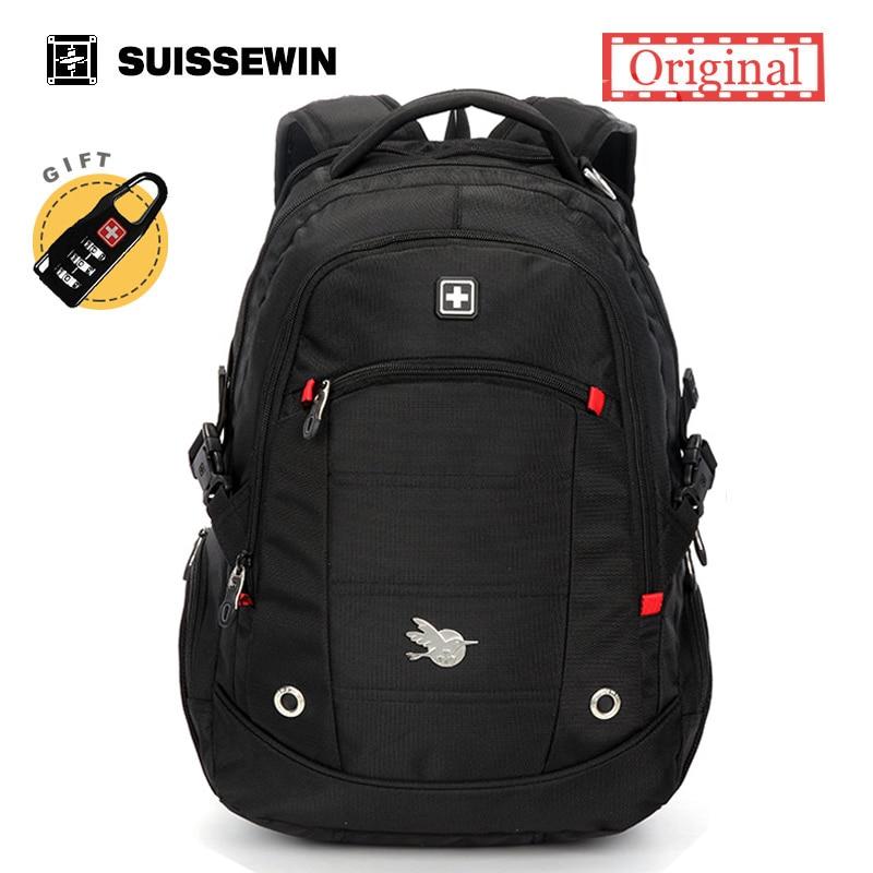 Suissewin Brand Backpack Men Swiss Backpack For Teenage Boy Quality Laptop Bag Pack Orthopedic Backpack Student Bag Black Green