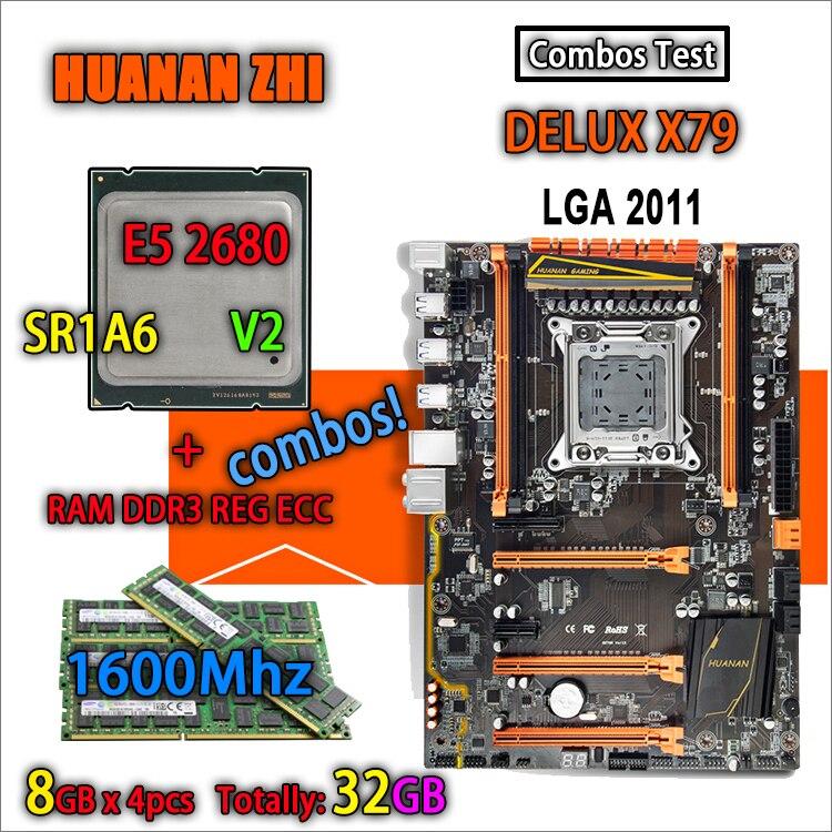 HUANAN ZHI Deluxe versión X79 de placa base LGA 2011 ATX combos E5 2680 V2 SR1A6 4x8G 1600 mhz 32 GB DDR3 RECC de memoria