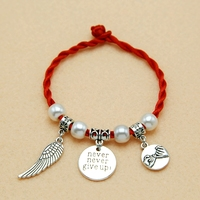 Vintage Silver Alloy Pinky Swear Promise Love Feather Engraved Words Charms Bracelets Bangles Women Fashion Jewelry 18cm Ne175
