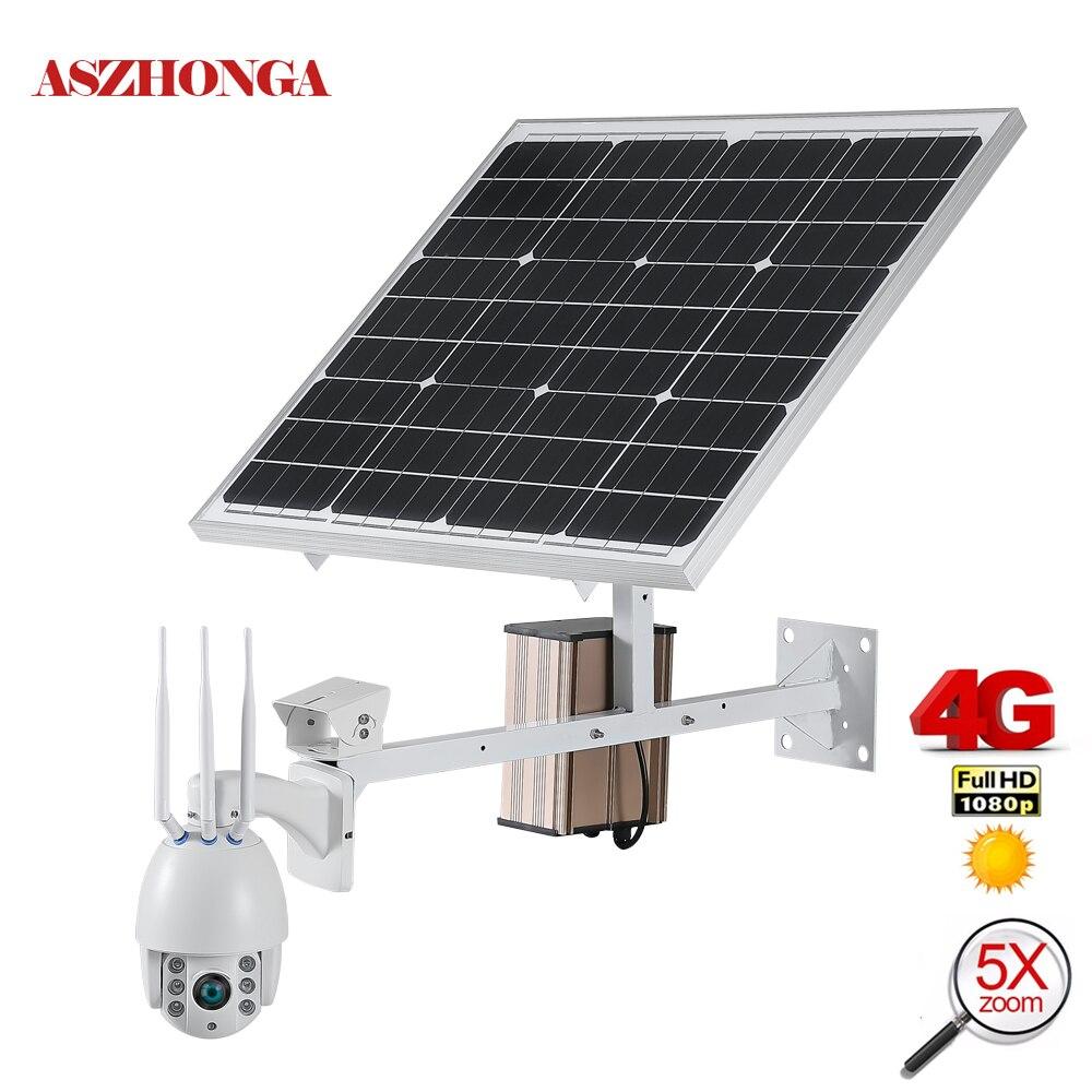 Камера видеонаблюдения, 60 Вт, с солнечной панелью, 1080P, 3G, 4G, SIM, беспроводная, Wi Fi, скоростная, купольная, PTZ, IP, наружная, Солнечная