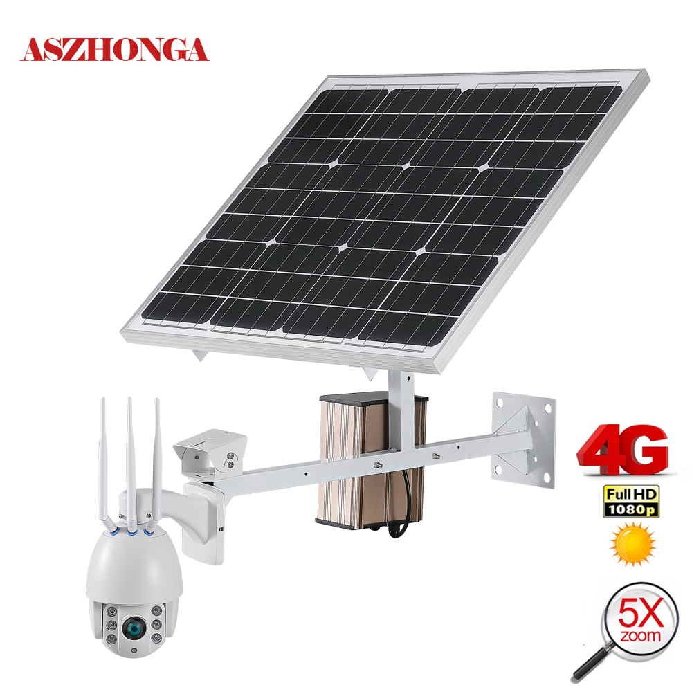 60W panneau d'alimentation solaire caméra de sécurité 1080P 3G 4G SIM sans fil Wi-Fi vitesse dôme PTZ IP caméra extérieure solaire CCTV Surveillance