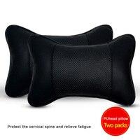 Reposacabezas de coche Universal de cuero PU Mini 2 uds.  soporte para asiento de coche  cojín reposacabezas para cabeza y cuello  almohada transpirable para 4 estaciones
