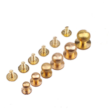 New 10Pcs Solid Brass Rivet Round Head Button Belt Screw Chicago Studs Leather Craft Tool Accessories 5mm