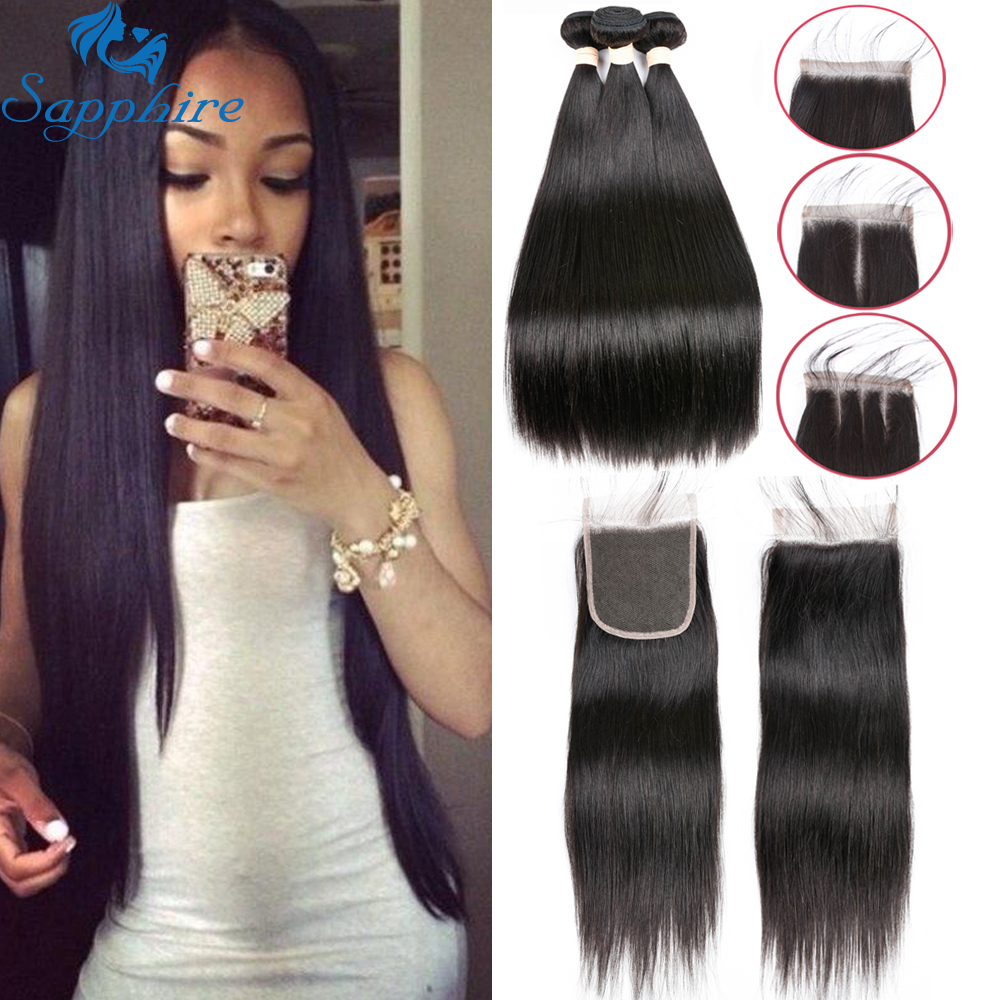Sapphire Brazilian Straight Human Hair 3Bundles With Closure Brazilian Hair Weave Bundles With Lace Closure Human Hair Extension