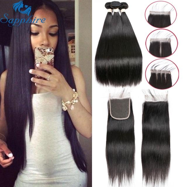 Sapphire Brazilian Straight Human Hair 3bundles With Closure