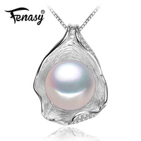 FENASY Pearl Jewelry Genuine Natural Pearl Pendant Necklace Freshwater Pearl Silver Choker Necklace Women 2015 New