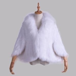 Image 5 - Kış kadın gerçek tavşan kürk örme tilki yaka ceket eğlence zamanı saf renk kürk ceket kadın moda kürk örgü yarasa gömlek