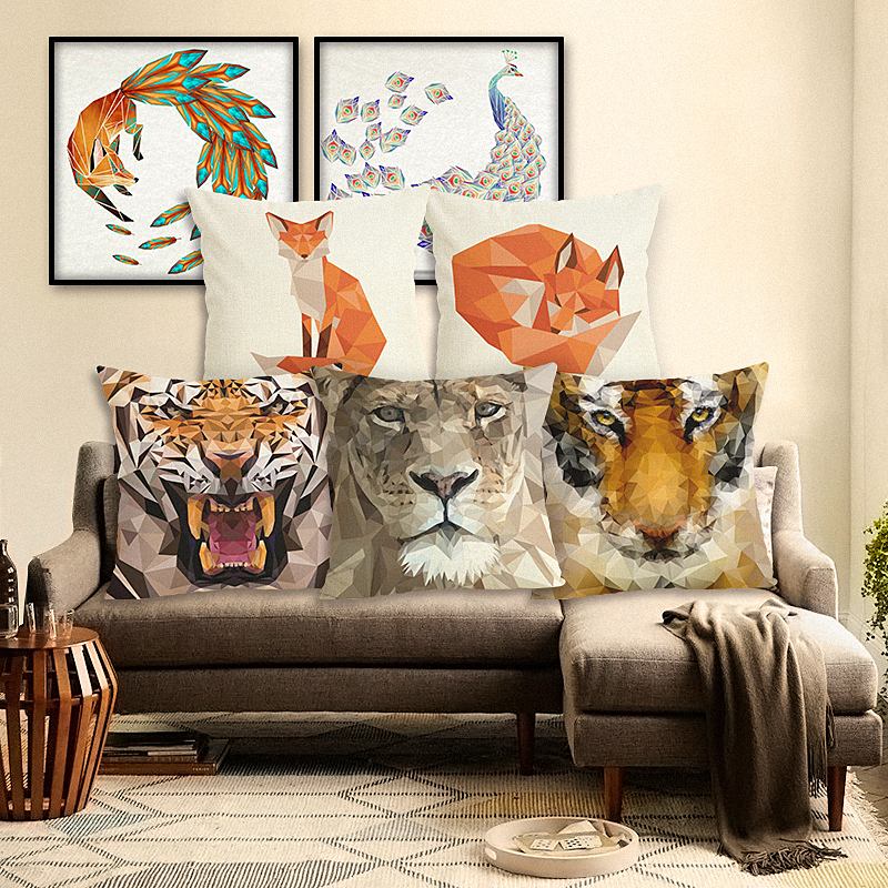 Cartoon Geometry Pillow Case Sofa Cushion Soft Pillow Case Animal Cushion Cover Bedding Pillows Cotton Linen Square