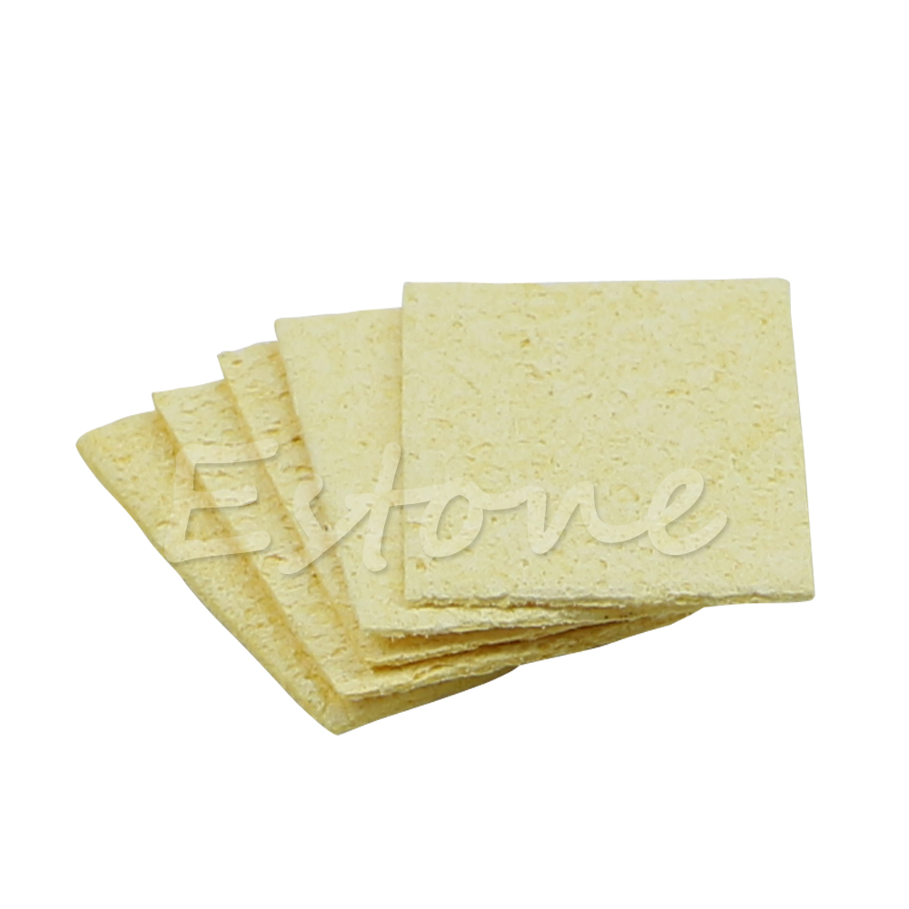 5pcs/lot Soldering Iron Replacement Solder Tip Welding Cleaning Sponge Pads Yellow