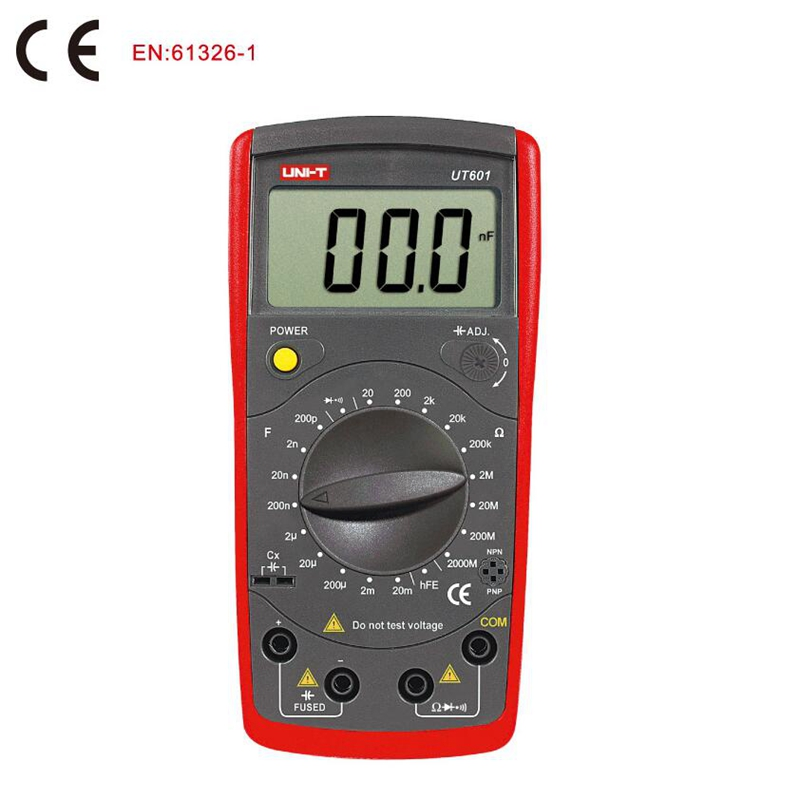 UNI T UT601 Digital Resistance Capacitance Meter Capacitor tester 1999 Counts LCR Meter transistor diode Test Continuity Buzzer