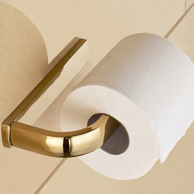 Retail Promotion Luxury Toilet Paper Holder Gold Plating Towel Wall Roll Tissue