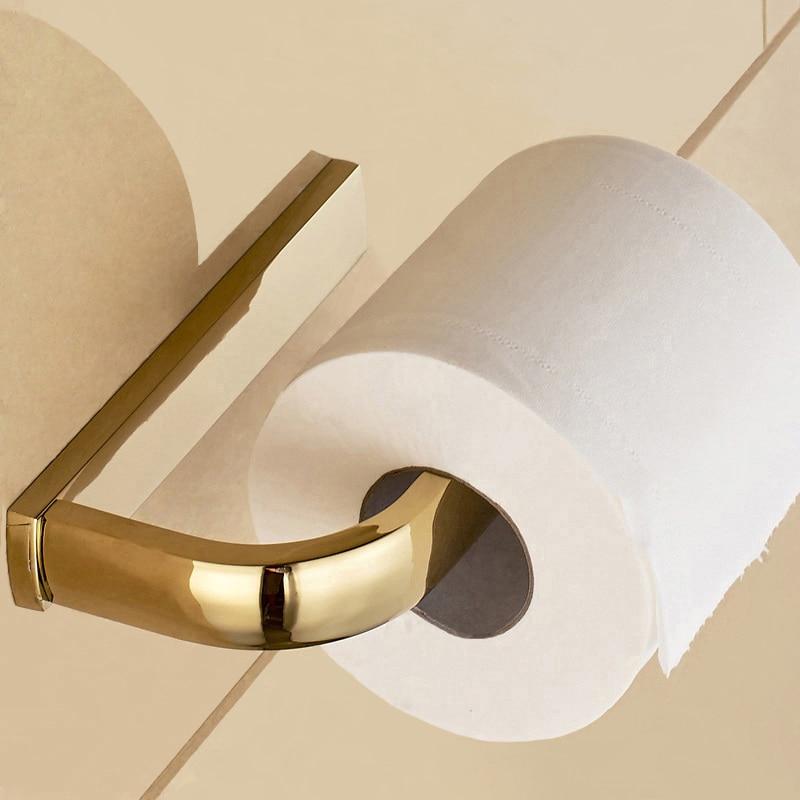 Retail Promotion Luxury Toilet Paper Holder Gold Plating Paper Towel Holder Wall Paper Roll Holder Tissue Holder Bathroom Goods