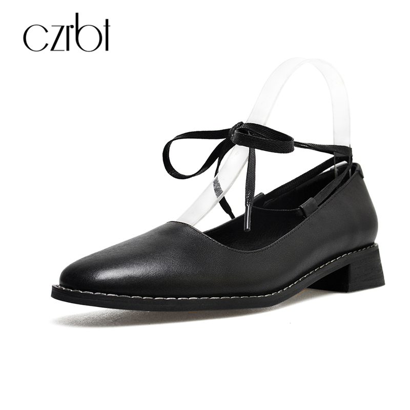 CZRBT New Arrival Mary Janes Women Shoes Genuine Cow Leather Lace Up Flat Shoes Women Black Round Toe Shallow Mouth Casual Shoes spring autumn women shoes fashion rhinestone slip on round toe flats shallow mouth mature shoes mary janes casual loafers shoes