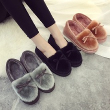 2018 Women Flats Cute Bow Cotton Soft Warm Winter Fur Flat Home Shoes Flat Casual Ladies Slip on Loafers Footwear BBT1050