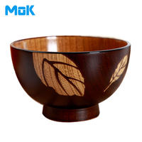 2016 New Quality Guaranteed Engraved Natural Wooden Bowls Eco Friendly Carved Leaf Sakura Wood Bowls