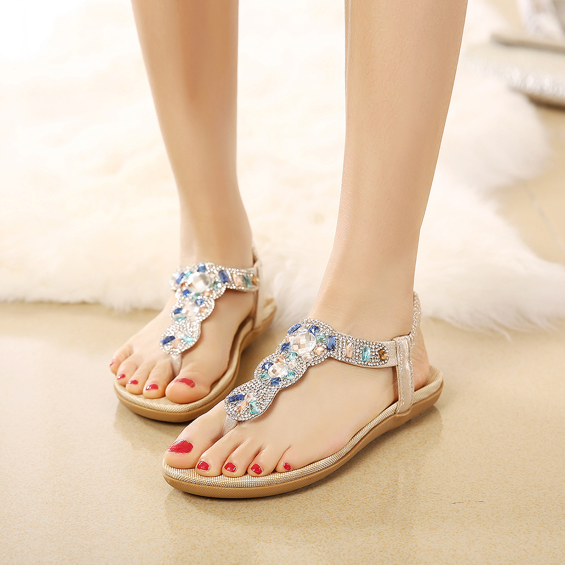 f3c9266d21a0 Women rhinestone sandals Ankle Strap Rhinestone Party Wear Gladiator Summer Sandals  Flat Shoes Women Bead T Strap Flip Flops -in Low Heels from Shoes on ...