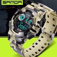 SANDA Camouflage Digital Watches Men Sports Waterproof Quartz Large Dial Hours Military Luminous Wristwatches 2016 Fashion