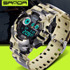 SANDA Camouflage Digital Watches Men Sports Waterproof Quartz Large Dial Hours Military Luminous Wristwatches 2016 Fashion