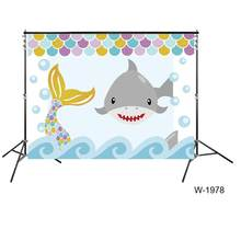 Gender reveal party backdrops mermaid or shark babyshower party banner background cake dessert table wallpaper decors supplies(China)