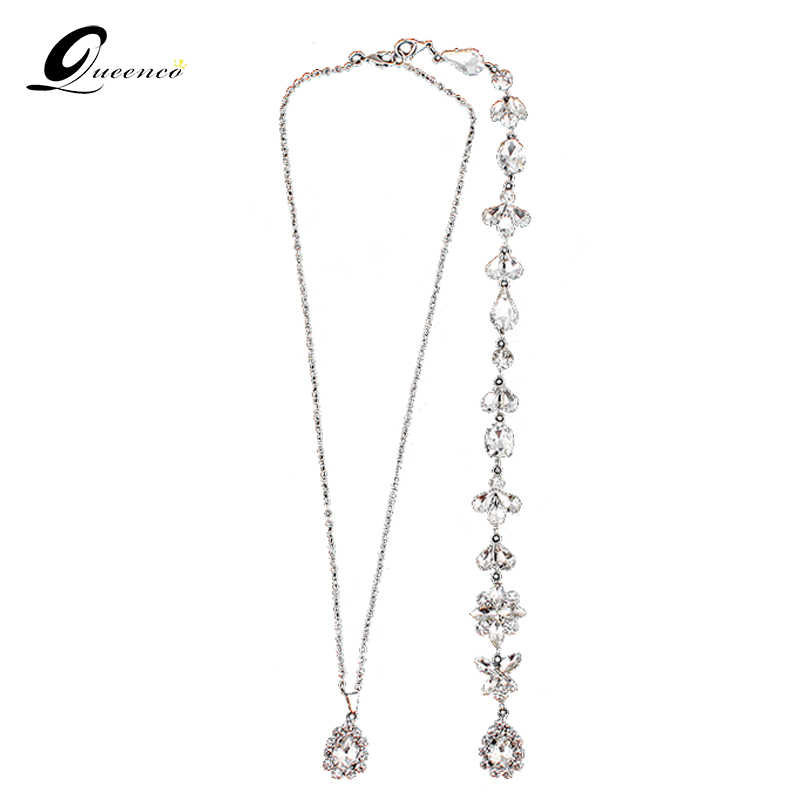 2019 Wedding Backdrop Necklace Bridal Crystal Necklace Back Drop Chain Statement Necklace Fashion Stunning 2-piece Necklace