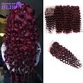 Mink Brazilian Hair With Closure 3 Bundles Brazilian Deep Wave With Closure 99J Red Virgin Human Hair Bundles With Lace Closure
