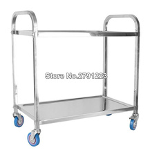 Utility-Cart 2-Shelf Kitchen 304-Stainless-Steel with 4-Casters Commercial High-Quality