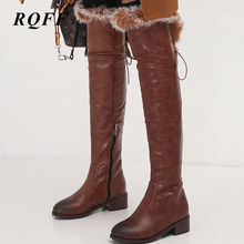 Women Shoes 44 46 Winter Knee High Boots PU Leather Round Toe Zip Fur Riding Equestrian Boot Med 4cm Heel Over-the-Knee Footwear