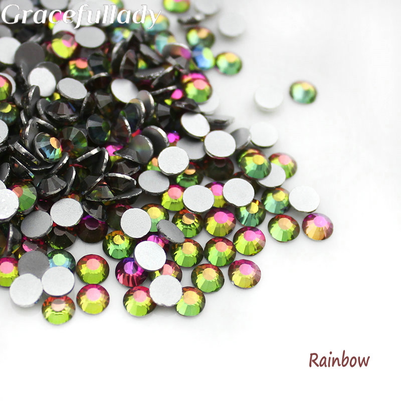 SS3-SS30 Rainbow 3D Rhinestones del arte del clavo Flatback no Hotfix - Arte de uñas - foto 1