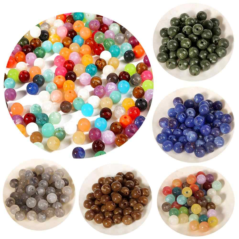 Wholesale 6mm 8mm 10mm Acrylic Clouds Beads Effect Round BEADS Spacer Loose Beads For Jewelry Making DIY Bracelet