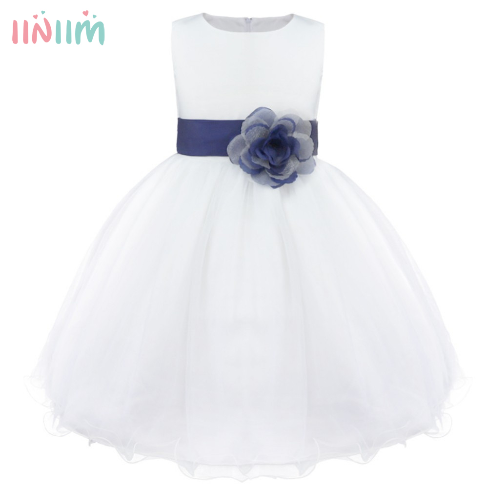 Weiße Blume Mädchen Kleid Blütenblätter Pageant Hochzeit Brautkleid ...