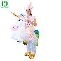 New Unisex Adults Kids Inflatable Unicorn Costume for Christmas Pants Mount Party Performance Animal Doll Halloween Dress Up