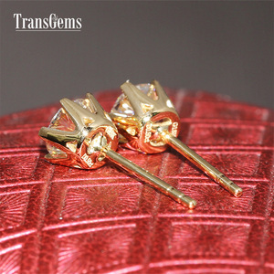 Image 3 - Transgems Classic 14K 585 Yellow Gold 1CTW 5mm 0.5ct Moissanite Diamond Stud Earrings For Women Push Back