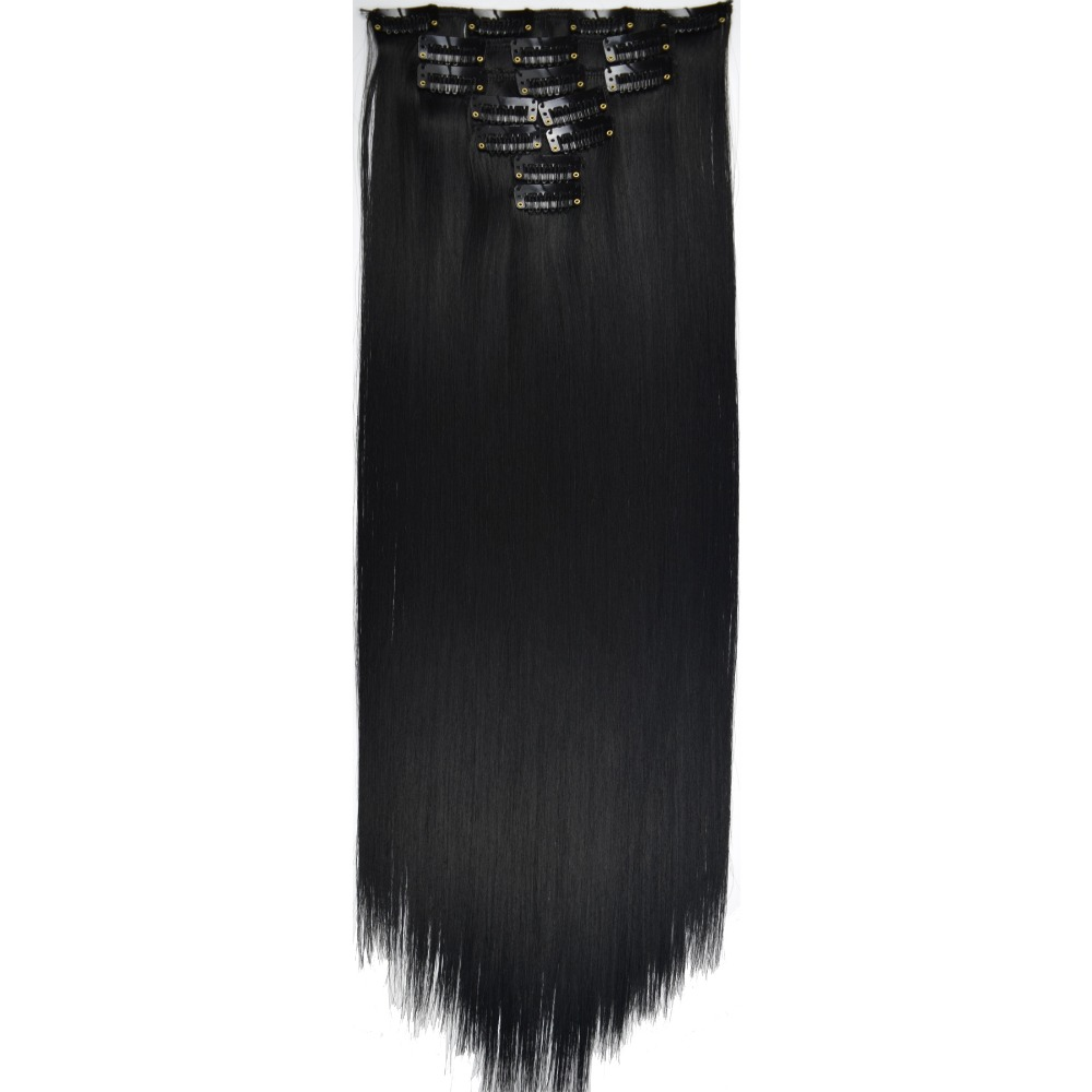 TOPREETY Heat Resistant B5 Synthetic Fiber 130gr 22 55cm Straight Clip in hair Extensions 7pcs/set 75 Colors Available