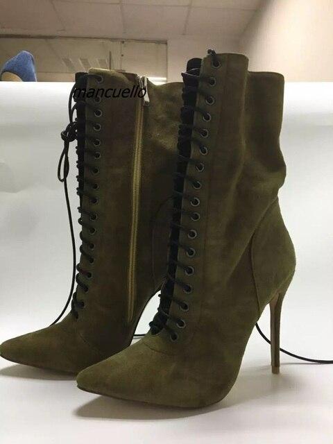 9103584c58cbcb Glamorous-Dunkelgr-n-Suede-Cross-Strap-Kurze-Stiefel-Sexy-Spitzen-Stiletto -Lace-Up-Stiefeletten-Classy-Schuhe.jpg 640x640.jpg
