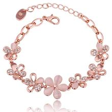 Braided Rose Gold Color Leaf Flowers Bracelets & Bangles With Stones Luxury Crystal Wedding Bracelets For Women Jewelry