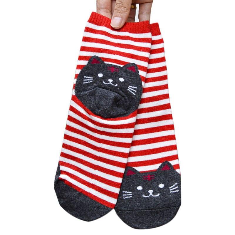 FREE OSTRICH 1Pair  Unisex Popular 3D Animals Striped Cartoon Socks Women Cat Footprints Cotton Socks Womens Summer Socks 2019