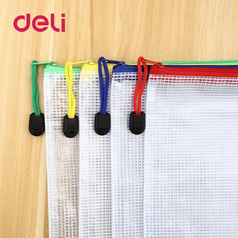 Deli 1pcs A4 Waterproof Plastic Zipper Paper File Folder Book Pencil Pen Case Bag File Document Bag For Office Student Supplies
