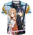 2017 new arrival Anime Sword Art Online printing Short sleeve Hipster 3D t shirt SAO fashion Men Women Summer Casual tee tops