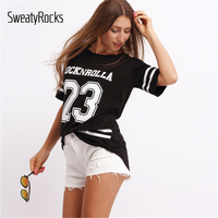 Crew Neck Varsity Print T Shirt 2018 New Fashion Summer Black New Letter Striped Woman Top