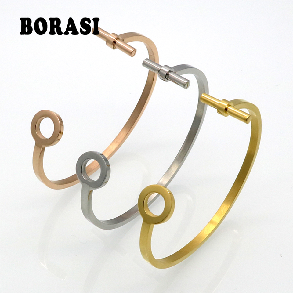 Gold Color Personalized Simple Circle Open Bangles Bracelets Party Jewelry