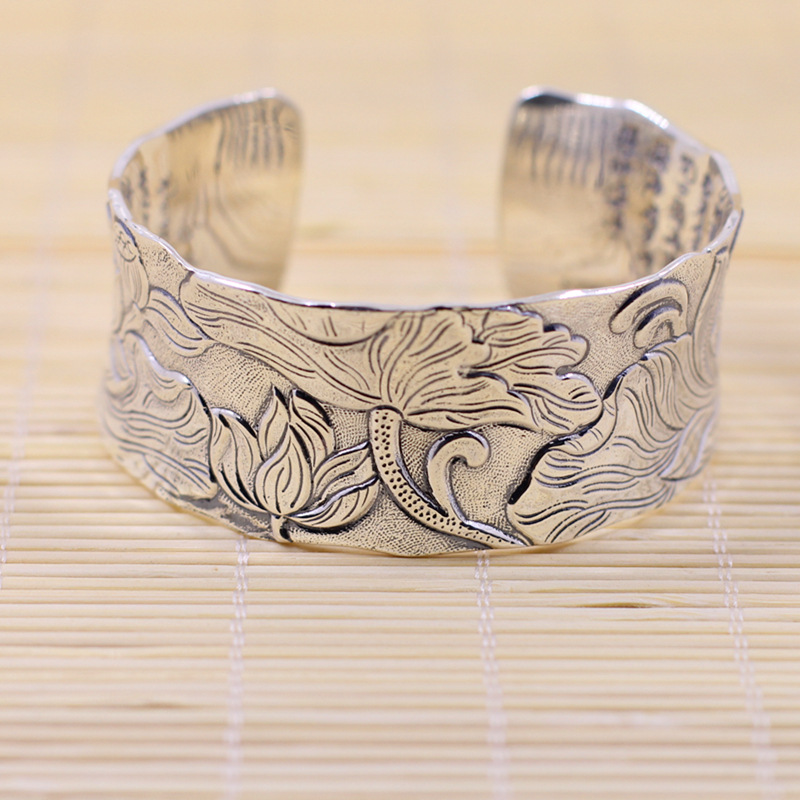 Limited Edition Pure Silver Chinese Characters Bracelet Buddhist Prajnaparamita Sutra Bracelet Fine Jewelry S999 Silver Bangle vimalakirti sutra with pin yin buddhist books in chinese edition