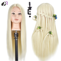 26 дюймов, женские прически, тренировочная голова, блонд, синтетические волокна, манекен, голова куклы для парикмахерских с бесплатным держа...