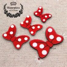 Craft-Decoration Polka-Dot Resin Cute To Charm 10pcs No Red 4-Sizes Planar Choose Bowknot