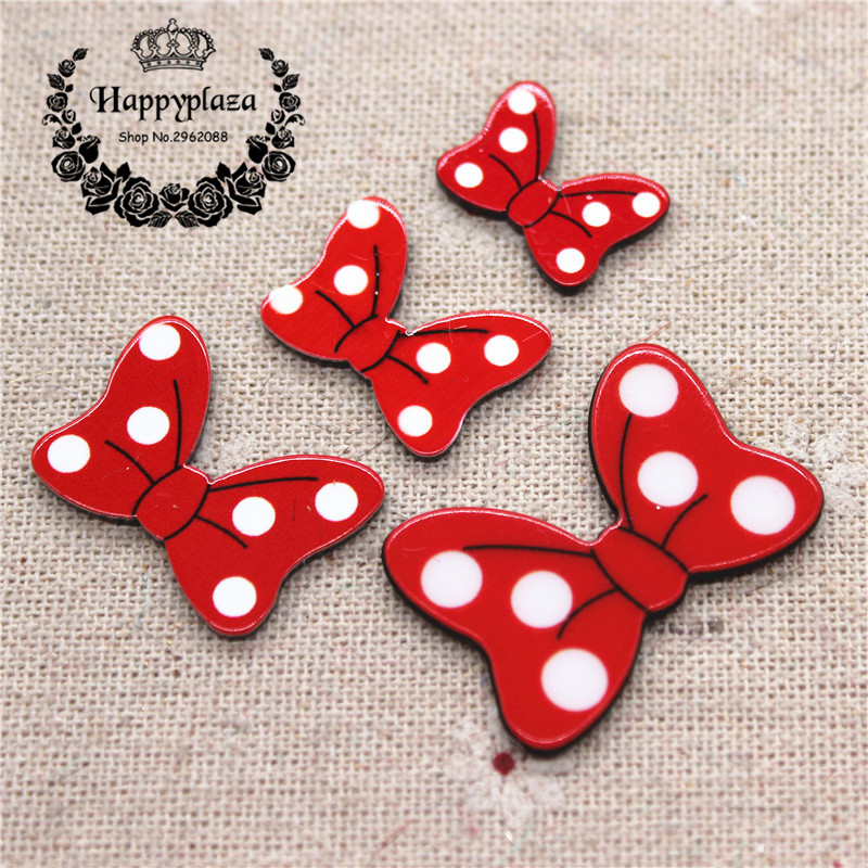 10pcs Cute Planar Resin Red Polka Dot Minnie Bowknot Charm DIY Craft Decoration,4 Sizes To Choose